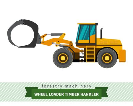 skidding: Timber handler forestry vehicle vector isolated illustration