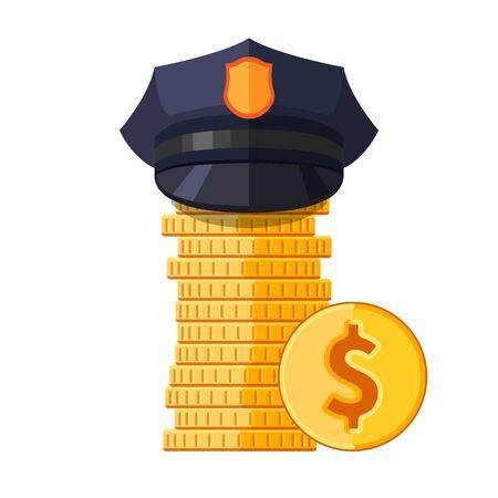 gorra polic�a: La polic�a capsula en la pila de monedas. Vector ilustraci�n aislada Vectores