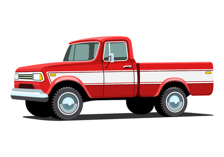 coachwork: Red pickup custom offroad truck with shadow. Vector isolated illustration