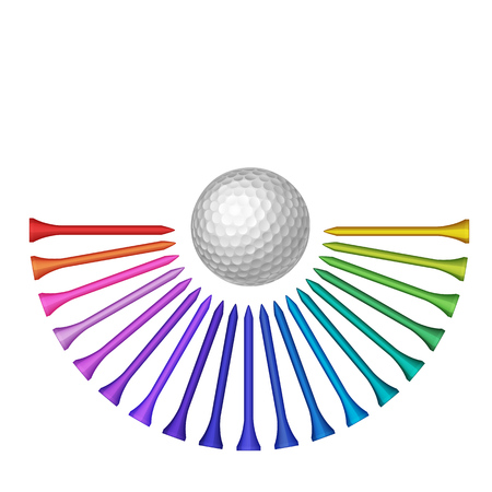 putting green: Golf ball with set of rainbow colored tee top view vector isolated illustration Illustration