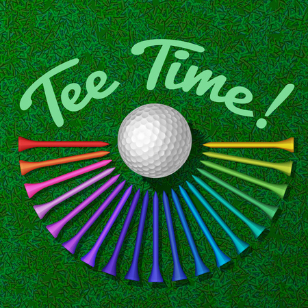 putting green: Golf ball with set of rainbow colored tee on the green grass top view vector illustration