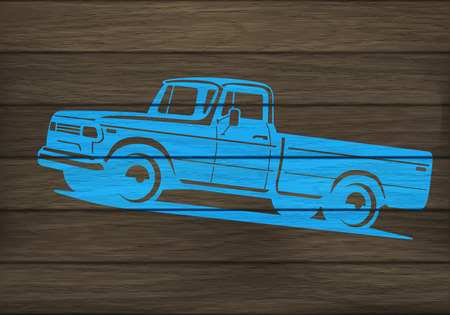 4x4: Painted wooden surface with stencil of pickup truck silhouette. Vector illustration Illustration