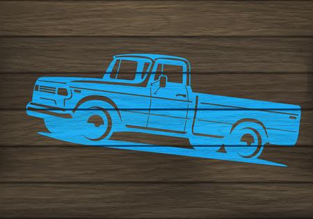 camioneta pick up: superficie de madera pintada con la plantilla de la silueta camioneta. ilustraci�n vectorial