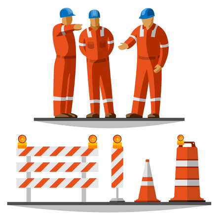 coverall: Road construction workers group discussion with helmet and coverall with traffic safety cone, drum, barricade and vertical panel with flash lights. Vector isolated illustration