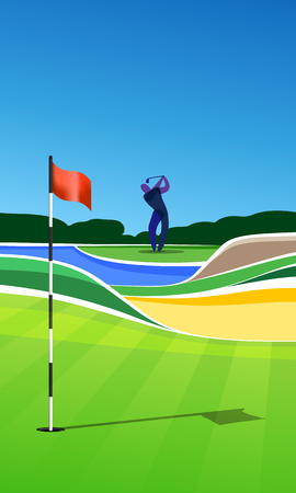 putting green: Golfer at golf course. Golf hole vector green tee background illustration with sand bunker and water hazard