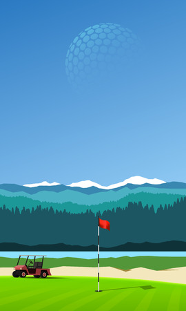 golf hole: Golf hole with golf cart on vertical mountain background landscape Illustration