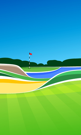 putting green: Golf hole vector green tee background illustration with sand bunker and water hazard