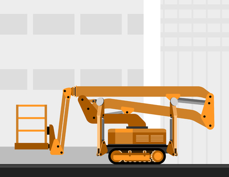 crawler: Aerial man crawler lift crane with construction background. Side view mobile crane vector illustration