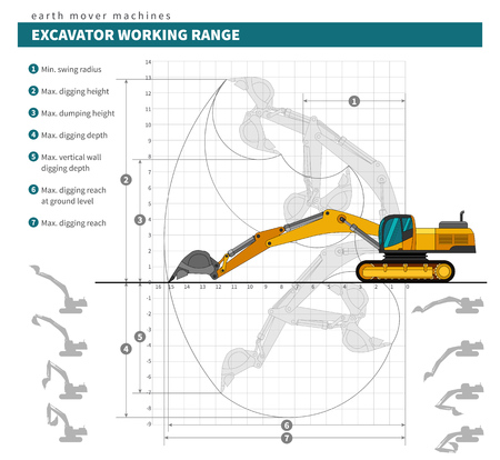 technical drawing: Excavator working range technical drawing blueprint. Heavy equipment vehicle color vector illustration