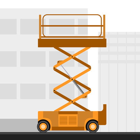 Aerial man scissor lift crane with construction background. Side view mobile crane vector illustration