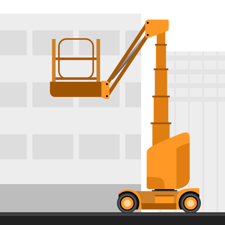 Aerial man vertical mast lift crane with construction background. Side view mobile crane vector illustration Vectores