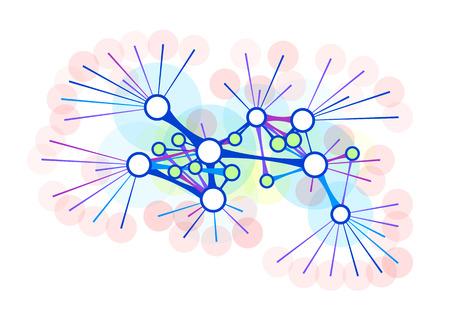 相互に連結されたノードの抽象的なネットワーク