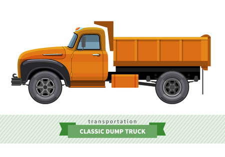 earth mover: Classic dump truck side view. Dumper vector isolated illustration
