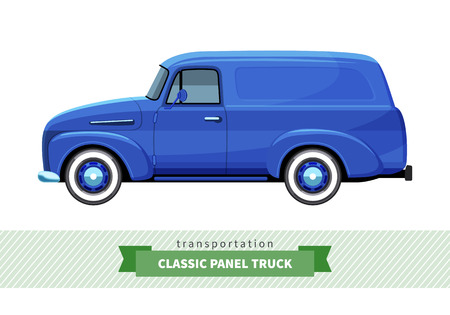 conveyance: Classic panel truck side view. Van vector isolated illustration Illustration