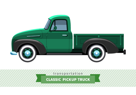 haul: Classic pickup truck side view. Vector isolated illustration