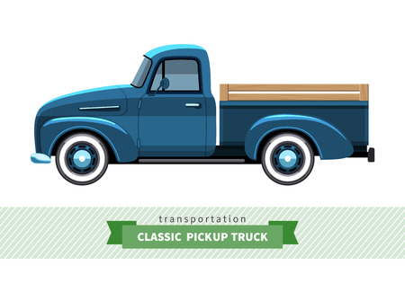 conveyance: Classic pickup truck side view. Stake truck vector isolated illustration