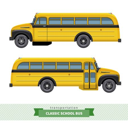 yellow schoolbus: Classic yellow school bus side view. Two views from driver door and passengers door. Vector isolated illustration