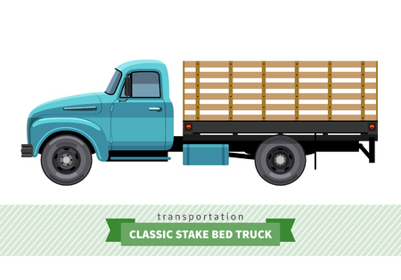 stake: Classic stake bed truck side view. Vector isolated illustration Illustration