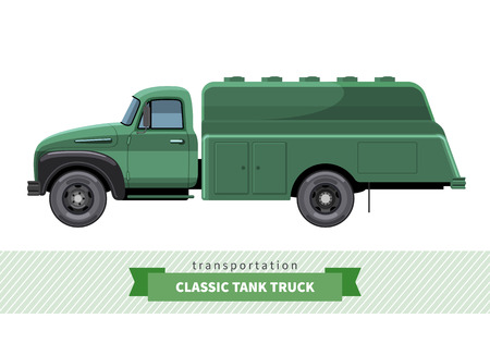 cistern: Classic tank truck side view. Cistern vector isolated illustration