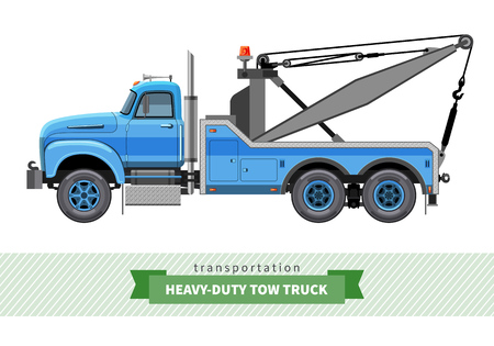 Classic heavy duty tow truck side view. Vector isolated illustration