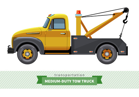 Classic medium duty tow truck side view. Vector isolated illustration Stock Illustratie