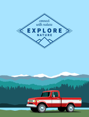 offroad: Red pickup custom offroad truck with shadow at mountaing landscape background. Vector illustration Illustration