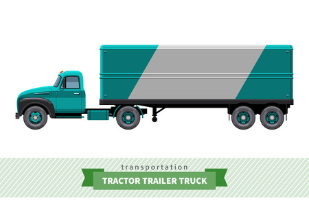 side view: Classic tractor trailer truck side view. Semi truck isolated illustration Illustration