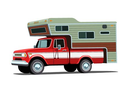 old timer: Classic retro camper shell on red pickup truck.