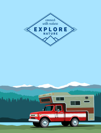 old timer: Camper shell pickup truck. Custom offload truck with shadow at mountain landscape background.