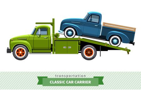 hauler: Classic medium duty car hauler truck side view.
