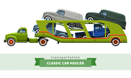 hauler: Classic medium duty car carrier truck side view.