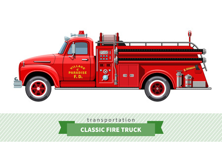 Classic medium duty fire truck side view.