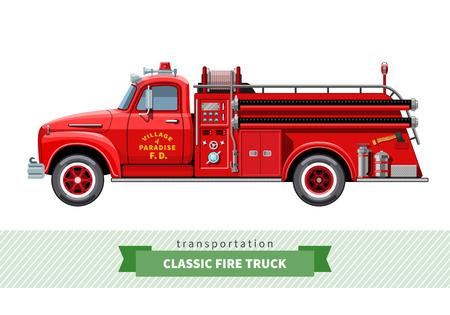 Classic medium duty fire truck side view.