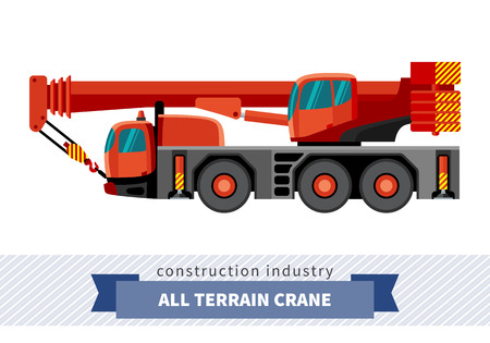 haulage: Crane mounted on truck. Side view mobile crane isolated vector illustration
