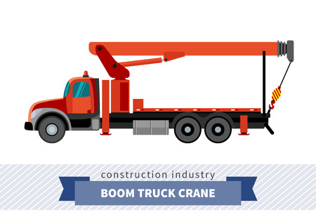 Boom truck crane mounted on truck. Side view mobile crane isolated vector illustration