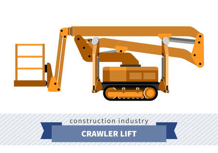 crawler: Aerial man crawler lift crane. Side view mobile crane isolated vector illustration Illustration