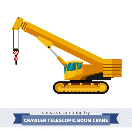 telescopic: Crawler telescopic boom crane. Side view mobile crane isolated vector illustration