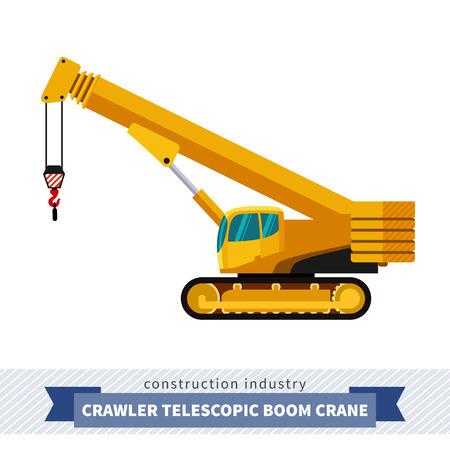 Crawler telescopic boom crane. Side view mobile crane isolated vector illustration