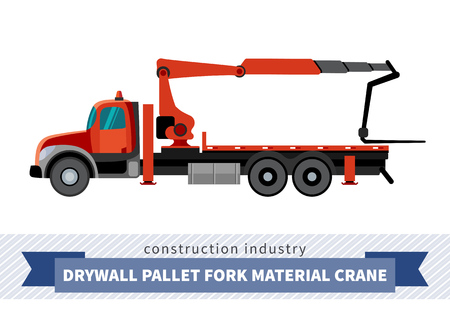 mobile crane: Drywall pallet fork material crane mounted on truck. Side view mobile crane isolated vector illustration