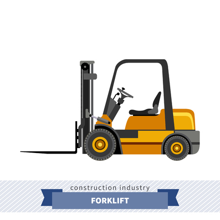 mini loader: Compact forklift industrial crane. Side view crane isolated vector illustration
