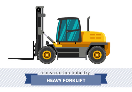 Heavy forklift industrial crane. Side view crane isolated vector illustration