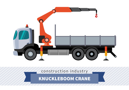 mobile crane: Knuckleboom crane truck. Side view mobile crane isolated vector illustration Illustration
