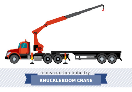 elevate: Knuckleboom crane semi truck. Side view mobile crane isolated vector illustration Illustration
