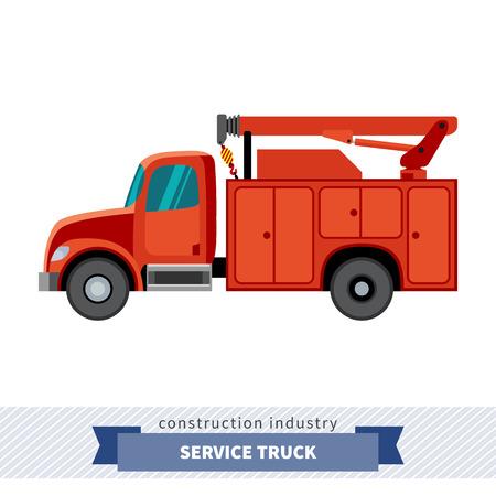 サービス トラック クレーン。側面分離ベクトル図