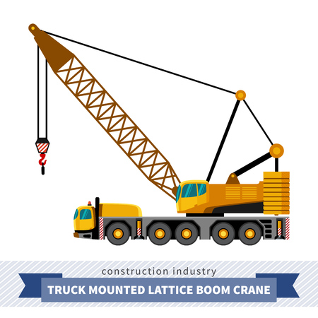 Truck mounted lattice boom. Side view mobile crane isolated vector illustration