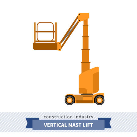 man side view: Aerial man vertical mast lift crane. Side view mobile crane isolated vector illustration Illustration