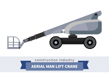 side view: Aerial man lifts crane. Side view mobile crane isolated vector illustration Illustration