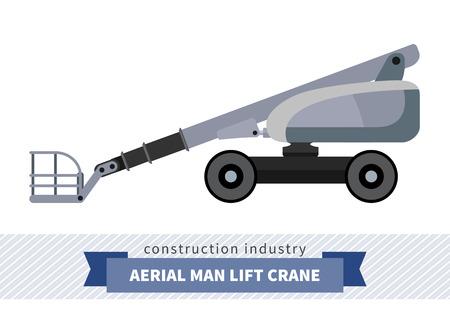 motor de carro: hombre aérea levanta la grúa. Vista lateral de la grúa móvil ilustración vectorial Vectores