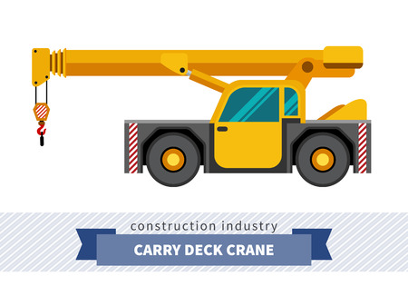 Carry deck industrial crane mounted on truck. Side view mobile crane isolated vector illustration Ilustração