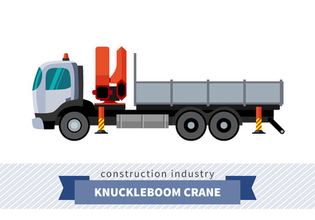 haulage: Knuckleboom crane truck. Side view mobile crane isolated vector illustration Illustration
